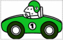 Cartoon graphic of racing car