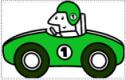 Cartoon graphic of racing car