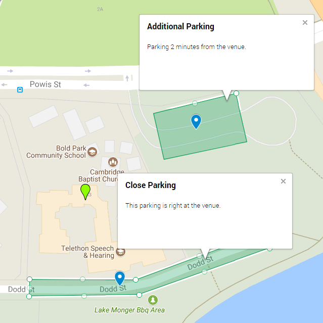 Map of free parking at the Venue