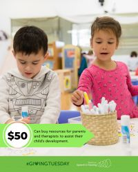 $50 Can buy resources for parents and therapists to assist their child's development.