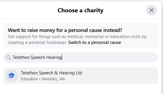 Facebook search for a Charity TSH fundraiser for TSH