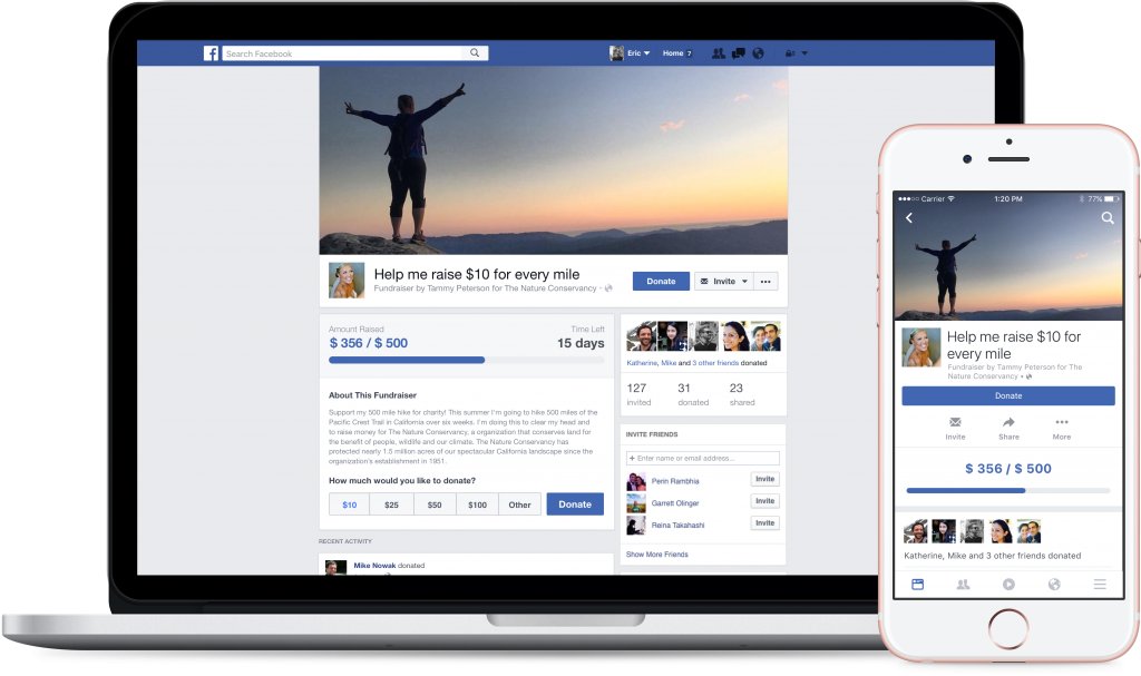 Complete your online Facebook fundraiser