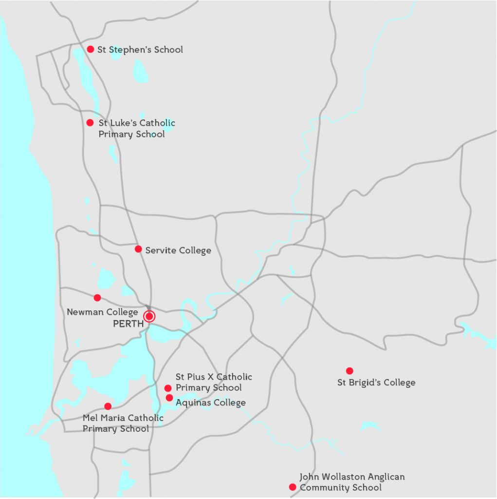 Map of schools where school support is offered by Telethon Speech & Hearing